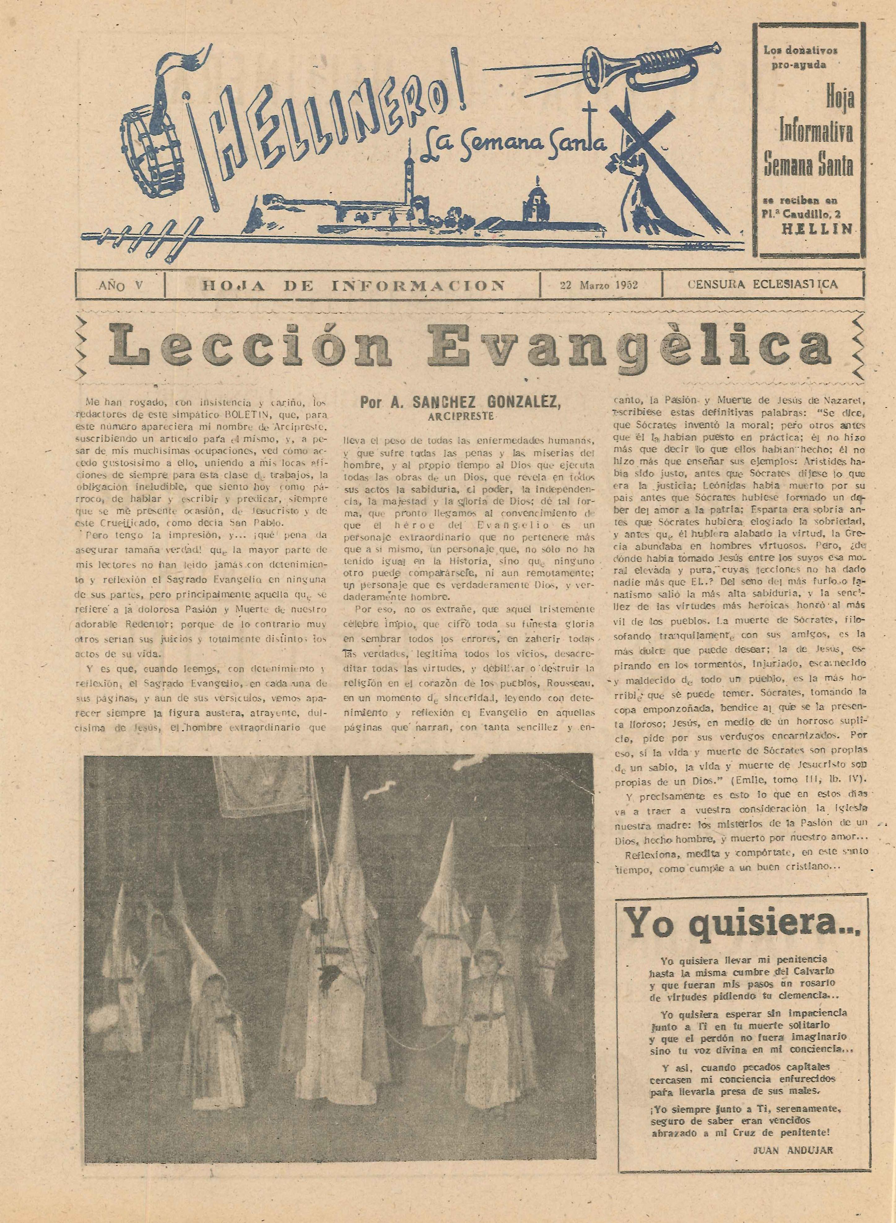¡Hellinero! La Semana Santa - Hoja informativa de Semana Santa - 1952 - n2
