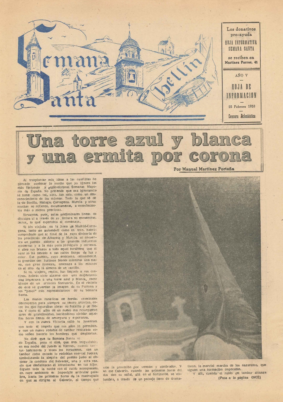 Semana Santa Hellín - Hoja de información - 1953 - n2