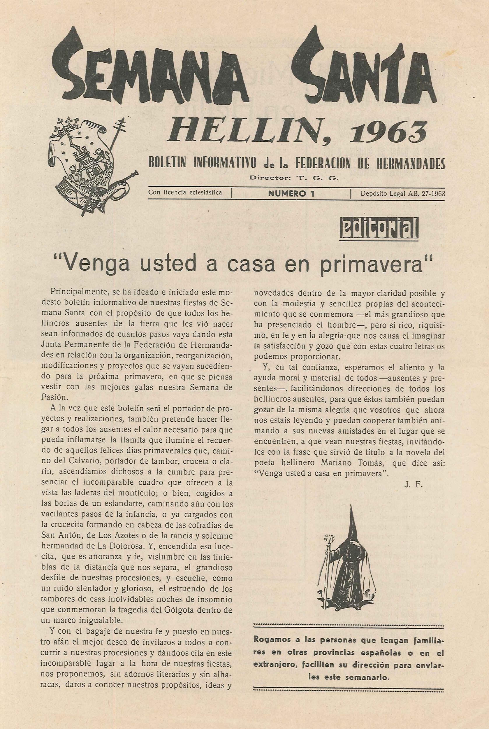 Boletín Informativo de la Federación de Hermandades - 1963 - n1