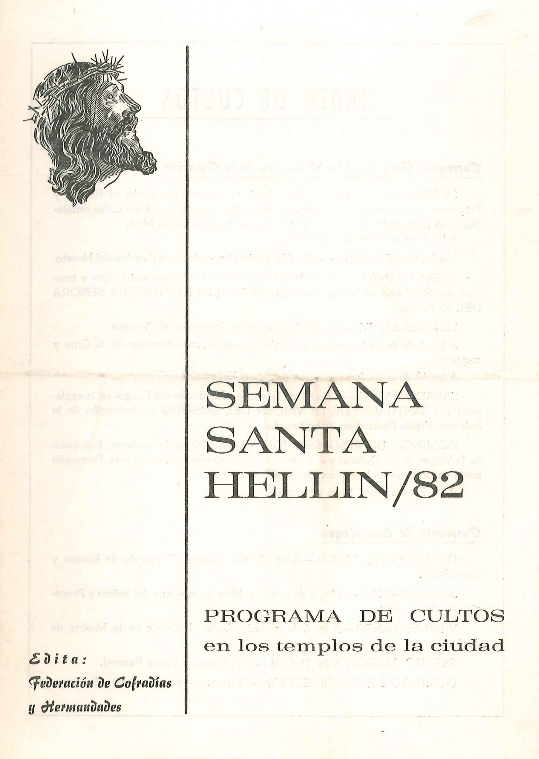 Programa de Actos de Semana Santa de Hellín - 1982